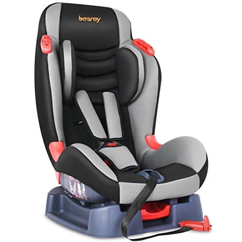 besrey Siège Auto Inclinable avec Coussin Confortable Amovible, Harnais à 5 Points et Protections Latérales pour l'Enfant de 9 à 25kg, Groupe 1/2, Certification de Sécurité ECE de l'UE et de 3C – Noir et Gris