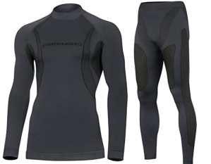 DRYTECH Thermo Set Sous-Vêtement de Fonction Long Hommes – Sans Couture Bodymapping (Graphite, L)