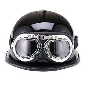MotorFansClub Moto vintage Open Face Demi casque avec lunettes de natation Harley Dot Noir mat