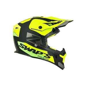 SWAPS – Casque Moto Cross Blur S818 Noir Jaune Fluo Vert Mat – Homologué ECE R22-05