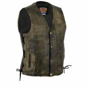 Bikers Gear Australia limitée Premium 1,3mm souple en cuir de vache Harley Style Gilet réglable avec dentelle côtés et poches, Distressed Marron, taille M