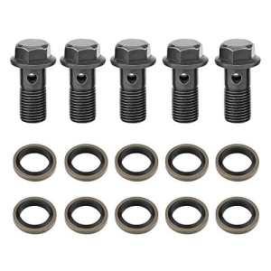 EBTOOLS 5Pcs Moto Boulons et Rondelles Banjo pour Maître-cylindre étrier de Frein M10 x1.25 / M10 * 1.0mm(M10×1.25mm)