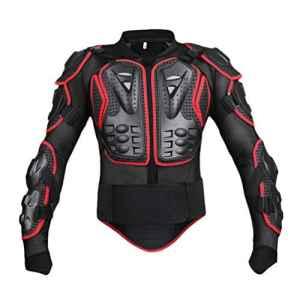 Yuanu Moto Armure Gilet de Protection Pare Pierre Moto Cyclisme Patinage Snowboarding Plastron avec Protection de la Poitrine et Dos Noir&Rouge M