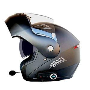 Casque de Moto Bluetooth pour Adulte Casques de Moto Anti-buée à Double lentille Casque de Motocross avec Casque de Moto Hors Route FM