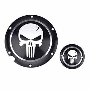 Frenshion Motorcycle Noir Chrome Skull Timing Accessories Engine Derby Timer Couverture for Harley Sportster Iron XL 883 1200 04-14 (Pack of 2pcs)