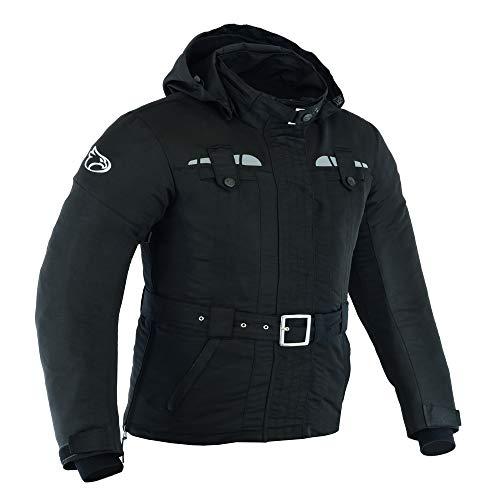 JET Blouson Veste Moto Femme Poids Léger Imperméable avec Armure Textile Taslan (Noir, XL (FR 42))