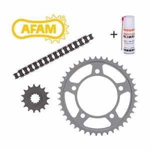 Kit chaîne de moto AFAM Yamaha DT 125 LC (10V) 1984-1987 avec la chaîne de moto, la couronne, le pignon, attache chaîne + le spray spécial chaîne