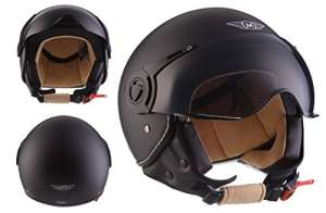 Moto Helmets H44 Bobber Vintage Chopper Demi-Jet Helmet Scooter Chopper Pilot Retro Biker Vespa Moto Mofa Casque Jet Cruiser, Noir Mat, L (59-60cm)