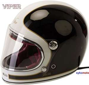 VIPER F656 FIBRE DE VERRE INTEGRAUX MOTO CHOPPER RETRO CRUISER BOBBER VINTAGE CASQUE GRINGO ECE APPROUVÉ BLANCO (L (59-60 CM))