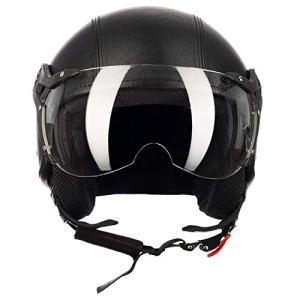 Westt® Classic X Leather · Casque Moto Jet Vintage en Cuir Noir pour Scooter Chopper · Casque de Moto Homme et Femme Demi-Jet · ECE Homologué