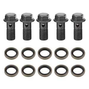 5 pcs Raccord de Frein, Keenso Banjo Vis Boulon de Frein de Moto M10X1.25mm en Acier Inoxydable Kit de Joint d'Etanchéité pour Maître-cylindre