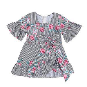 6-24 Mois Mode Bebe Fille Enfant ABsoar Enfant Manche Courte Imprimé de Fleurs Tenues à Rayures Robe Princess Fete Manchon de Cloche Jupe de Vetement