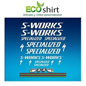 Ecoshirt BY-V5NL-373U Stickers S Works Specialized Aufkleber Decals Autocollants Stickers R84, Blanc
