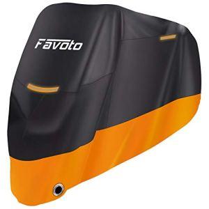 Favoto Housse Protection pour Moto 96,5″ Couverture Polyester 210D Résistant aux déjections d'oiseaux, à l'Eau, à la Poussière/ Neige/ Pluie, au Vent, UV pour Moto Scooter Custom- 245*105*125cm (XXL)