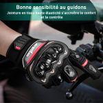 Gant Moto Homologué CE 1KP Gants de Moto Durable, Gant Moto Homologue Mi Saison Gants Moto Scooter,Confortable Gant Moto Femme Homme Anti-Usure, Gant Moto Tactile Protection Anti-Choc,Taille XL 10 11