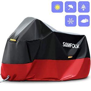 Housse de Protection Moto & Scooter, Samfolk Bâche Moto Couverture Imperméable PVC, Taille Universelle pour Usage Intérieur et Extérieur (Rouge, XXL)