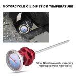 Jauge d'Huile de Moto, Keenso Jauge de Niveau d'Huile avec le Thermomètre pour Moto 125cc en Alliage d'Aluminium (Red)