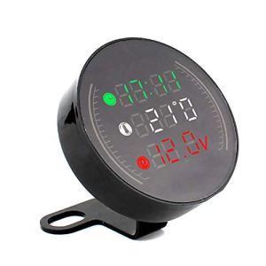 MiaLian Thermomètre 3 en 1 pour Moto avec LED