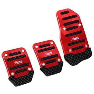 Semoic 3 x Couverture antiderapant de pedale en Metal et Plastique Noir et Rouge
