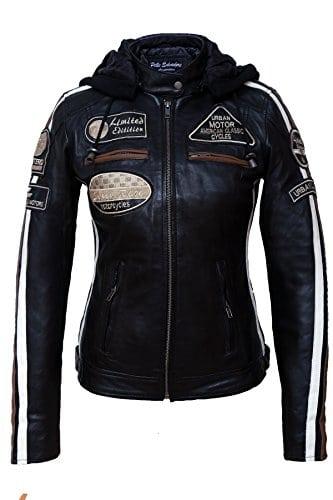 Urban Leather 58 Veste de Moto pour Femmes avec Protections, Noir-4XL