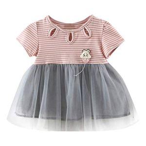 Vêtements Filles Mode pour Nouveau-né ABsoar Enfant Fille O-Cou Manche Courte Rayure Tulle Patchwork Jupe de Princess Robe Fete pour 0 Mois -2 Ans Pas Cher