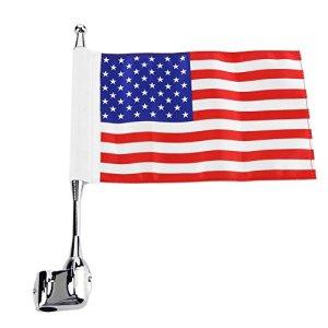Ahomi Mât de drapeau pour fixation sur porte-bagages arrière de moto + Drapeau des États-Unis, pour Honda Gold Wing GL 1800