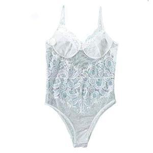 HucodeVan Femme Sexy Col V Transparent Babydoll Vêtement de Nuit Nuisettes Licou Erotiques Sexy Dentelle Bodycon Vêtements de Nuit Siamois Creux