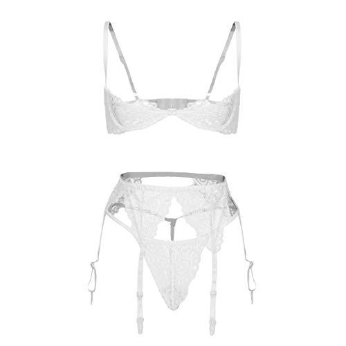 HucodeVan Soutien-Gorge Sexy en Mesh+String+Clip de Bas Femmes Ensemble Lingerie 3pc sous Le Buste Soutien-Gorge en Dentelle String