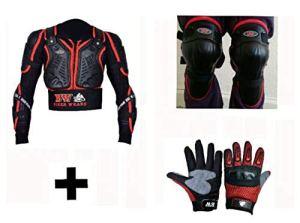 Pro Biker Wears Protection de carrosserie pour enfant avec gants et genouillère Protection dorsale idéale pour les activités sportives – Âge de 2 à 13 ans