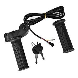 Focket Guidon électrique de poignée de gaz, poignées en Caoutchouc de Motocross de vélo, Tension de Batterie de Scooter électrique avec Affichage à LED et accélérateur de clé de Verrouillage