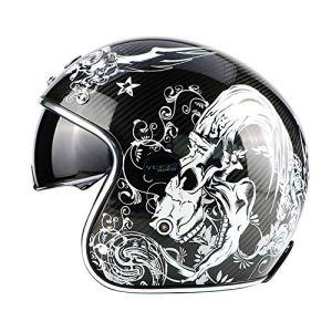 MMRLee Casque Moto en Fibre de Carbone, Adulte rétro avec Objectif intégré avec Casque pour Casque à Lunettes, Conforme à la Certification Dot,White,XL
