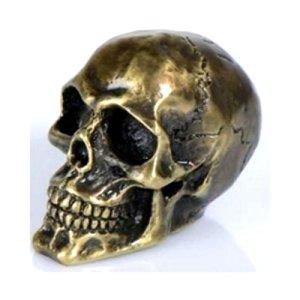 Ornement de garde boue Moto Têtes de Mort chrome ou noir (Bronze)