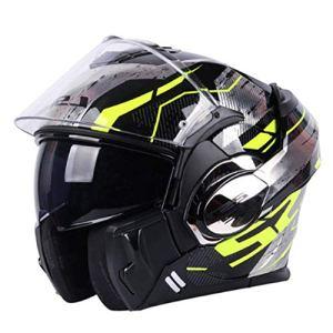 QYHT LS2 FF399 Casque de Moto, Casque de Moto d'été, Certification de Sécurité ECE, Lentille Optique 3D, Donner un Patch Anti-buée HD, 6 Styles Disponibles (C,XLL)