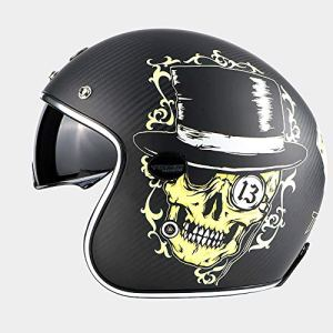 Sunzy Casque de Moto en Fibre de Carbone, Objectif Harley rétro intégré avec Casque pour Lunettes à Fente 3/4, Conforme aux Normes de Certification Dot/ECE,XXL