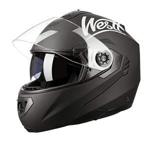 Westt Torque Z · Casque Moto Modulable Intégral Double Visière pour Scooter Chopper · Casque de Moto Homme et Femme en Noir Mat · ECE Homologué