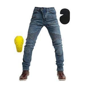 WildBee Pour des Hommes Rue Bicyclette Courses Pantalon Bleu Jeans Équitation Un pantalon avec coussinets de protection pour les hanches et les genoux