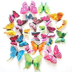 Paquet de 12, Autocollant Mural à Broche magnétique, Papillon, Aimant et Colle