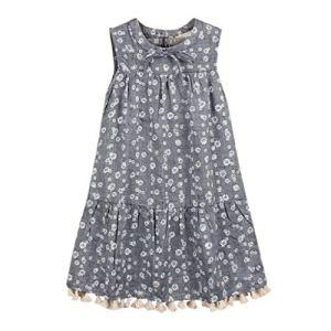 Viewk pour Les Enfants Enfant en Bas âge Enfants bébé Filles sans Manches Fleurs Impression Glands Robe de Tenue de soirée Boho