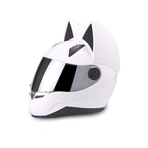 Casques de moto Oreille de chat Été Full Full Face Racing Moto personnalité couvre quatre saisons hommes et femmes Casques de course (Color : White-L)