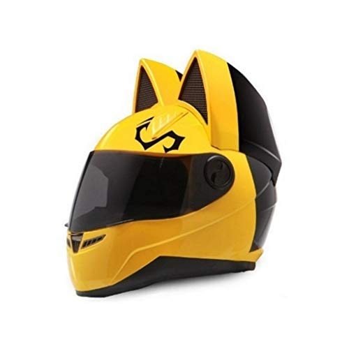 Casques de moto Oreille de chat Été Full Full Face Racing Moto personnalité couvre quatre saisons hommes et femmes Casques de course (Color : Yellow-M)