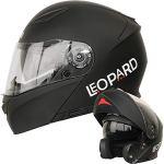 Leopard LEO-888 Casque Moto Modulable Double Visière ECER Homologué Homme Femme – Noir Mat XXL (63-64cm)