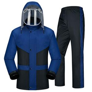 Poncho Vêtements De Pluie for Les Hommes Vêtements De Pluie (Veste De Pluie Et Pantalon De Pluie) Adultes À Capuchon Travail en Plein Air Moto Golf Pêche (Color : Blue, Size : L)