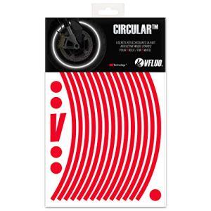 VFLUO CircularTM, Kit Bandes Jantes Moto rétro réfléchissantes (1 Roue), 3M TechnologyTM, Liseret Largeur Normale : 7 mm, Rouge