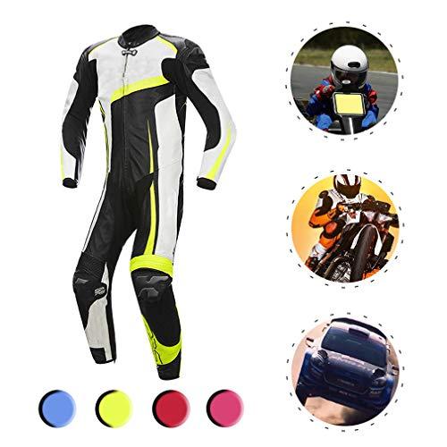 YILIFA Costumes d'équitation de Moto, Ensemble Protecteur de vêtements de Course en Cuir d'une Seule pièce en Cuir,Yellow,3XL