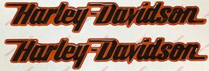 Lot de 2 stickers, logo Harley Davidson, en résine effet 3D, noir et orange. Pour réservoir d'essence ou casque.