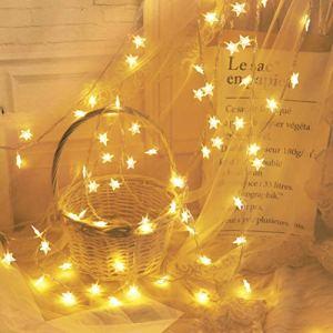 Lumières guignolées menées de fée, décorations extérieures de Lampe de Guirlande de Forme d'étoile de 50 LED pour l'éclairage de Vacances de Mariage de Partie de Maison