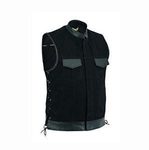 Leatherick Gilet de motard en denim avec poches pour pistolet Noir