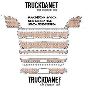 TRUCKDANET Accessoires en Acier Inoxydable pour Camion Scania série New Generation Masque au Design Nid d'abeille.