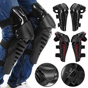 1 Paire de genouillères de Moto protègent Le Motocross Moto équitation Racing équipement de Protection protègent Les Protections de sécurité de Sport en Plein air gardes – Noir et Rouge
