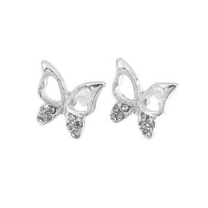 3 Paires de Mode Dames Mignonnes Filles Strass Papillon Oreille dormeuses Bijoux Cadeau Marque et Mariage – Argent